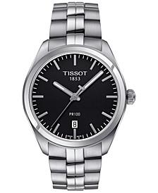 Men's Swiss PR100 Stainless Steel Bracelet Watch 39mm T1014101105100