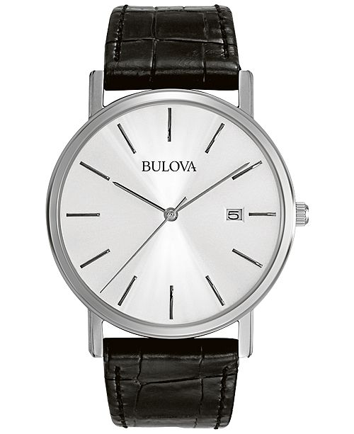Bulova Men's Black Croc Embossed Leather Strap Watch 37mm 96B104