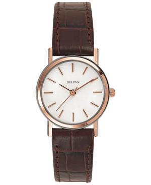 Bulova Women's Brown Leather Strap Watch 25mm 98V31