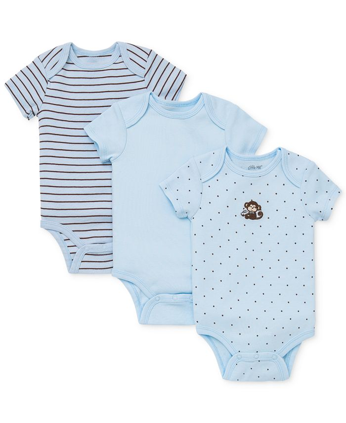 Little Me - Baby 3-Pack Monkey Bodysuits