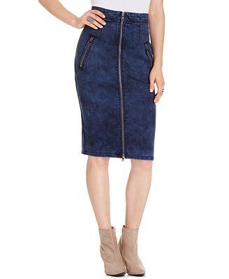 dkny zip front denim pencil skirt kurt wash