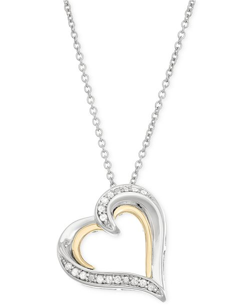 Macy's Diamond Heart Pendant Necklace (1/10 ct. t.w.) in 14k Gold and Sterling Silver