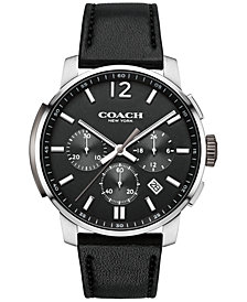 COACH MEN'S CHRONOGRAPH BLEECKER BLACK LEATHER STRAP WATCH 42MM 14602014, Created for Macy'S