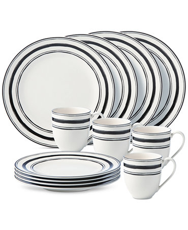 Lenox around the table collection stripe 12 piece place for Table 6 lenox