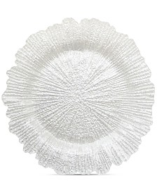 Jay Imports Glass White Pearl Reef Charger Plate