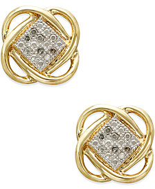 Diamond Accent Knot Earrings in 10k Gold