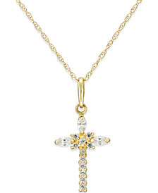 Cubic Zirconia Cross Necklace in 10k Gold