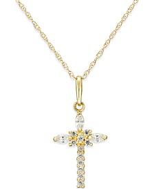 Cubic Zirconia Cross Necklace in 10k Gold