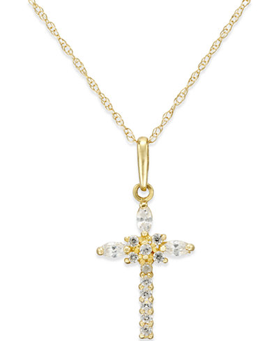 Cubic Zirconia Cross Necklace in 10k Gold - Necklaces