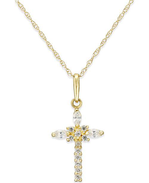 dcefa1e5ec5257 Macy's Cubic Zirconia Cross Necklace in 10k Gold & Reviews ...