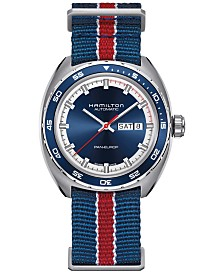 Hamilton Men's Swiss Automatic Pan Europ Interchangeable Fabric and Leather Strap Watch Set 42mm H35405741