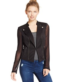 Material Girl Juniors' Illusion Embossed Moto Jacket, Created for Macy's
