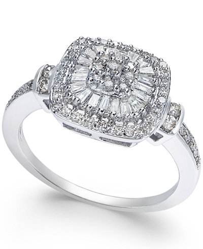Diamond Vintage-Inspired Ring (1/2 ct. t.w.) in 14k White Gold