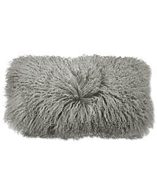 "Donna Karan Home Grey Flokati 11"" x 22"" Decorative Pillow"
