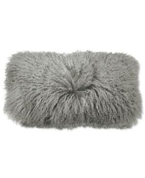 """Image of Donna Karan Home Grey Flokati 11"""" x 22"""" Decorative Pillow Bedding"""