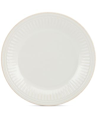 Dinnerware Stoneware French Perle Groove White Dinner Plate