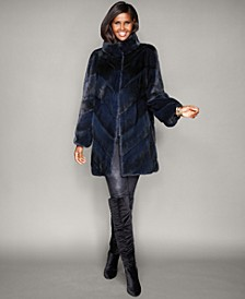 Chevron-Striped Mink Fur Coat