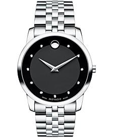 Men's Swiss Museum Classic Diamond Accent Stainless Steel Bracelet Watch 40mm 0606878
