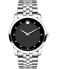 Movado Men's Swiss Museum Classic Diamond Accent Stainless Steel Bracelet Watch 40mm 0606878