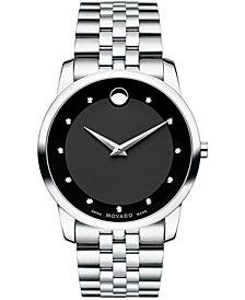 Movado Men's Swiss Museum Classic Diamond Accent Stainless Steel Bracelet Watch 40mm 0606878