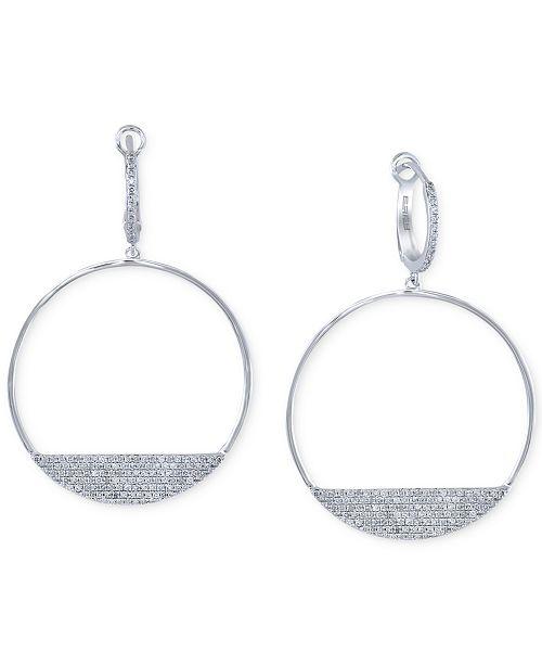 EFFY Collection Geo by EFFY® Diamond Drop Hoop Earrings (3/4 ct. t.w.) in 14k White Gold
