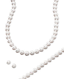 Cultured Freshwater Pearl 3 Piece Set, Necklace, Earrings and Bracelet