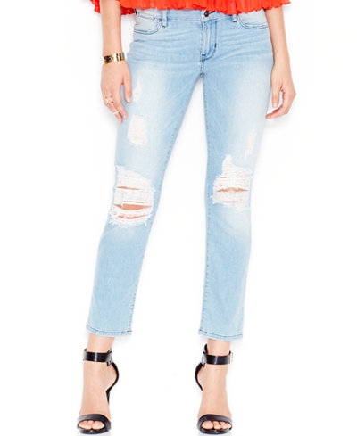 GUESS Ripped Mid-Rise Pencil Skinny Jeans - Jeans - Women - Macy's