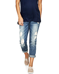 Luxe Essentials Denim Maternity Ripped Boyfriend Jeans, Vintage Medium Wash