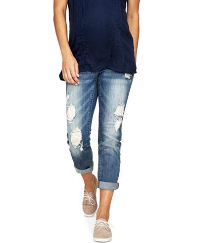 Luxe Essentials Denim Maternity Ripped Boyfriend Jeans, Vintage Medium Wash - Luxe Essentials Denim Maternity Ripped Boyfriend Jeans, Vintage