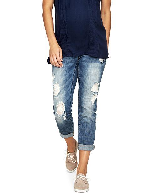 e211cb15f4d2e ... Luxe Essentials Denim Maternity Ripped Boyfriend Jeans, Vintage Medium  Wash ...