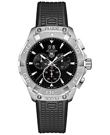 Men's Swiss Chronograph Aquaracer Black Rubber Strap Watch 43mm