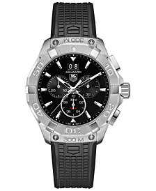 TAG Heuer Men's Swiss Chronograph Aquaracer Black Rubber Strap Watch 43mm CAY1110.FT6041