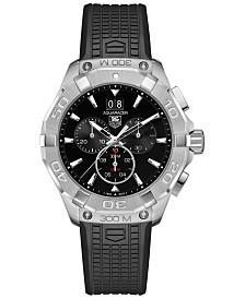 TAG Heuer Men's Swiss Chronograph Aquaracer Black Rubber Strap Watch 43mm