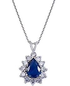 Sapphire (1-4/5 ct. t.w.) and Diamond (9/10 ct. t.w.) Pendant Necklace in 14k White Gold