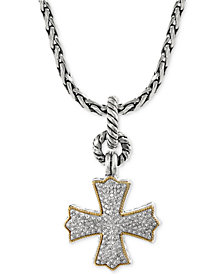 EFFY Diamond Cross Pendant Necklace (1/3 ct. t.w.) in 18k Gold and Sterling Silver