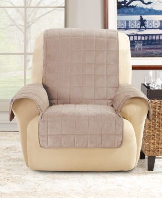 Deep Pile Polyester Velvet with Non-Skid Paw Print Pet Back Recliner Furniture Cover