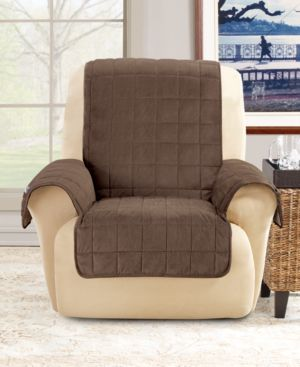 Sure Fit Deep Pile Polyester Velvet with Non-Skid Paw Print Pet Back Recliner Furniture Cover