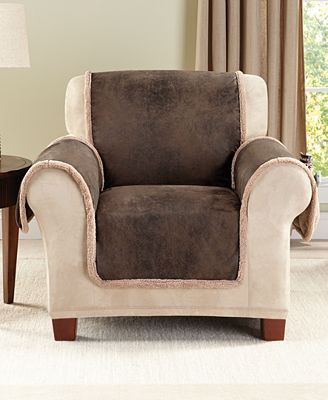 Sure Fit Vintage Faux Leather With Sherpa Pet Slipcover