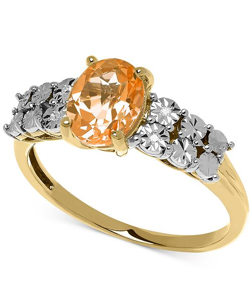 Macy's Citrine (1 ct. t.w.) and Diamond Accent Ring in 14k Gold