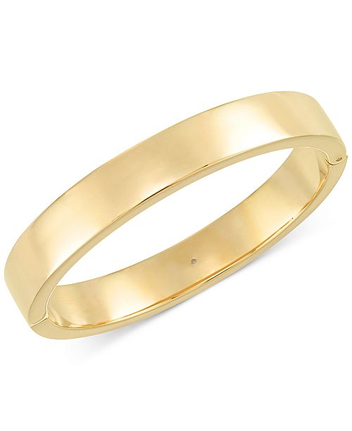 Signature Gold Polished Hinge Bangle Bracelet in 14k Gold over Resin