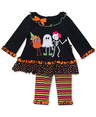 Rare Editions Baby Girls' 2-Piece Dancing Ghost Halloween Tunic & Leggings Set