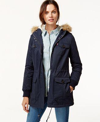 Levi's® Hooded Faux-Fur Sherpa-Lined Jacket - Coats - Women - Macy's