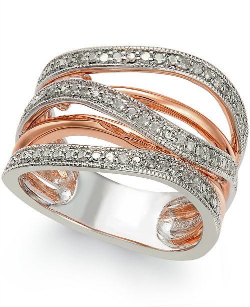Macy's Diamond Multi-Row Ring (1/4 ct. t.w.) in 14k Rose Gold Vermeil and Sterling Silver