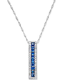 Sapphire (3/4-ct. t.w.) and Diamond (1/5 ct. t.w.) Linear Pendant Necklace in 14k White Gold