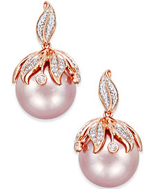 Pink Windsor Pearl (13mm) and Diamond Accent Earrings in 14k Rose Gold