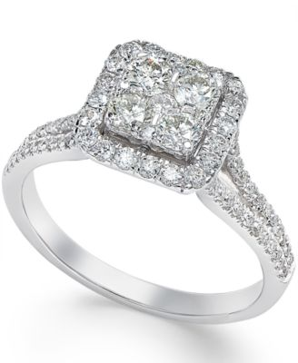 Square Diamond Cluster Engagement Ring 34 ct tw in 14k White
