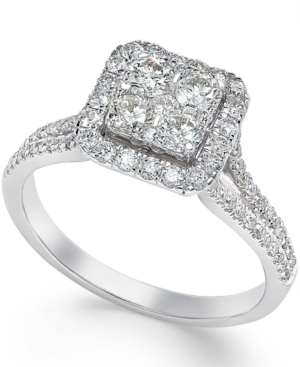 fc1e834d62281 Square Diamond Cluster Engagement Ring (3/4 ct. t.w.) in 14k White Gold -  White Gold