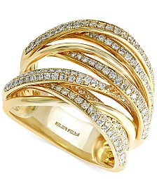 EFFY Diamond Overlap Ring (3/4 ct. t.w.) in 14k White Gold, Yellow Gold or Tri Color Gold