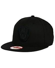 Milwaukee Brewers Black on Black 9FIFTY Snapback Cap