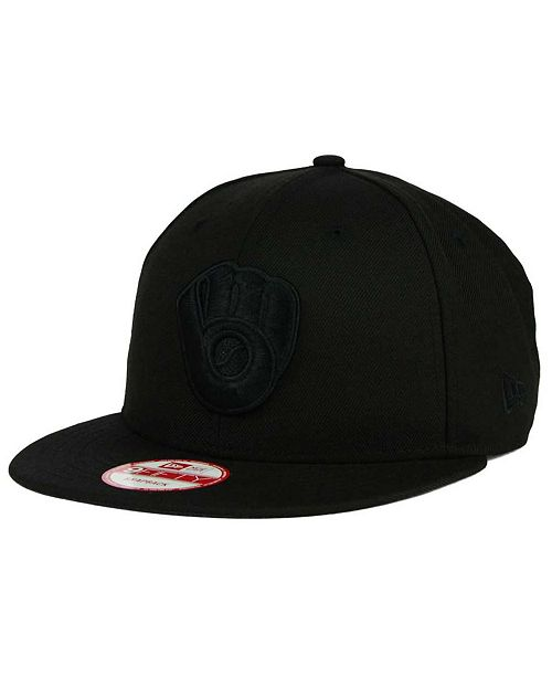 New Era Milwaukee Brewers Black on Black 9FIFTY Snapback Cap